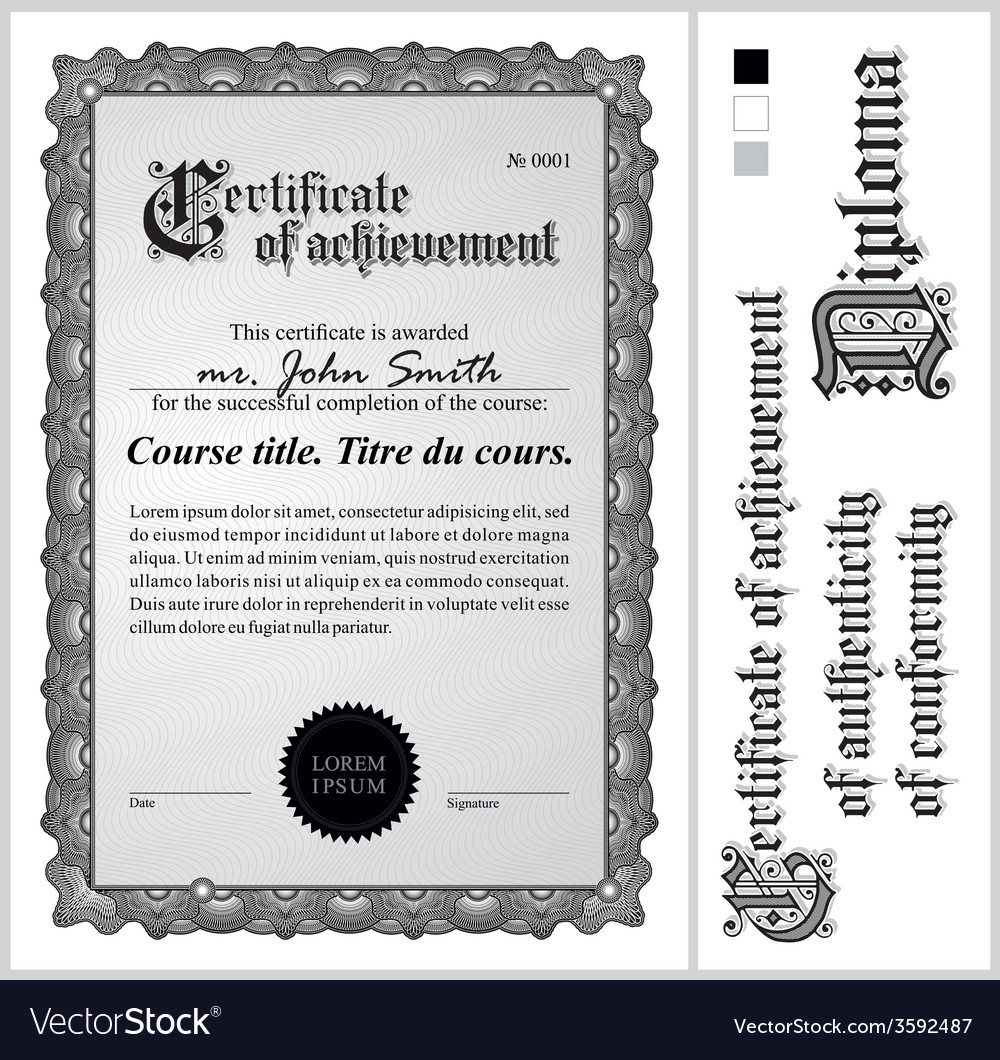 Black and white certificate template vertical vector   Price: 1 Credit (USD $1)