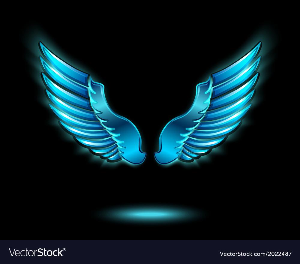 Blue glowing angel wings vector | Price: 1 Credit (USD $1)
