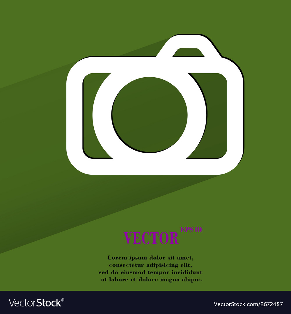 Camera flat modern web button with long shadow and vector | Price: 1 Credit (USD $1)
