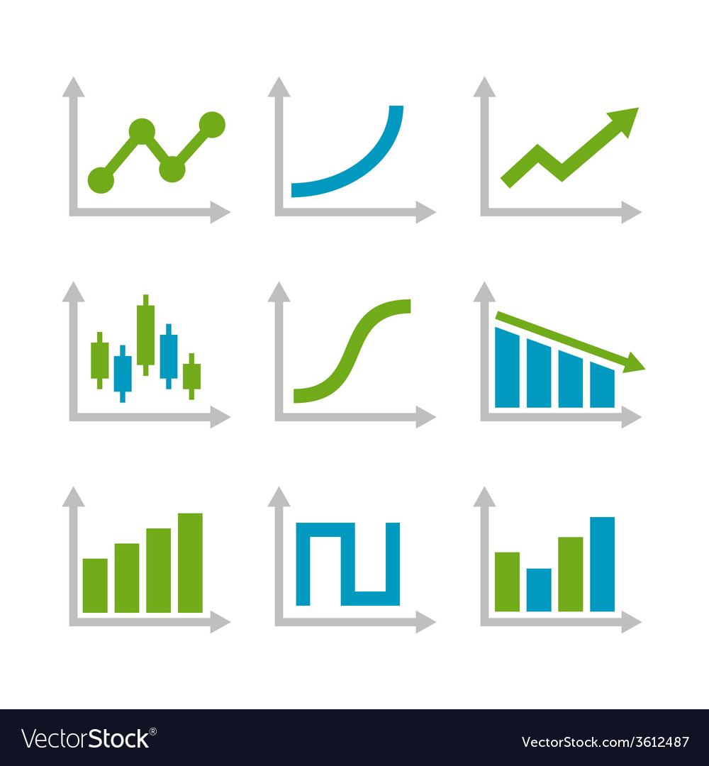 Color graph chart icons set vector   Price: 1 Credit (USD $1)