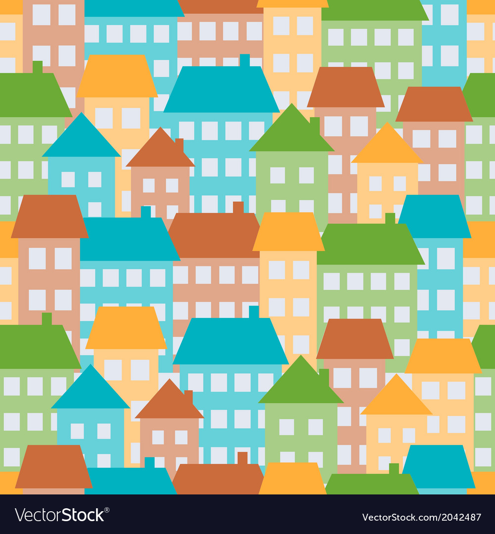 Colored houses in town seamless pattern vector   Price: 1 Credit (USD $1)