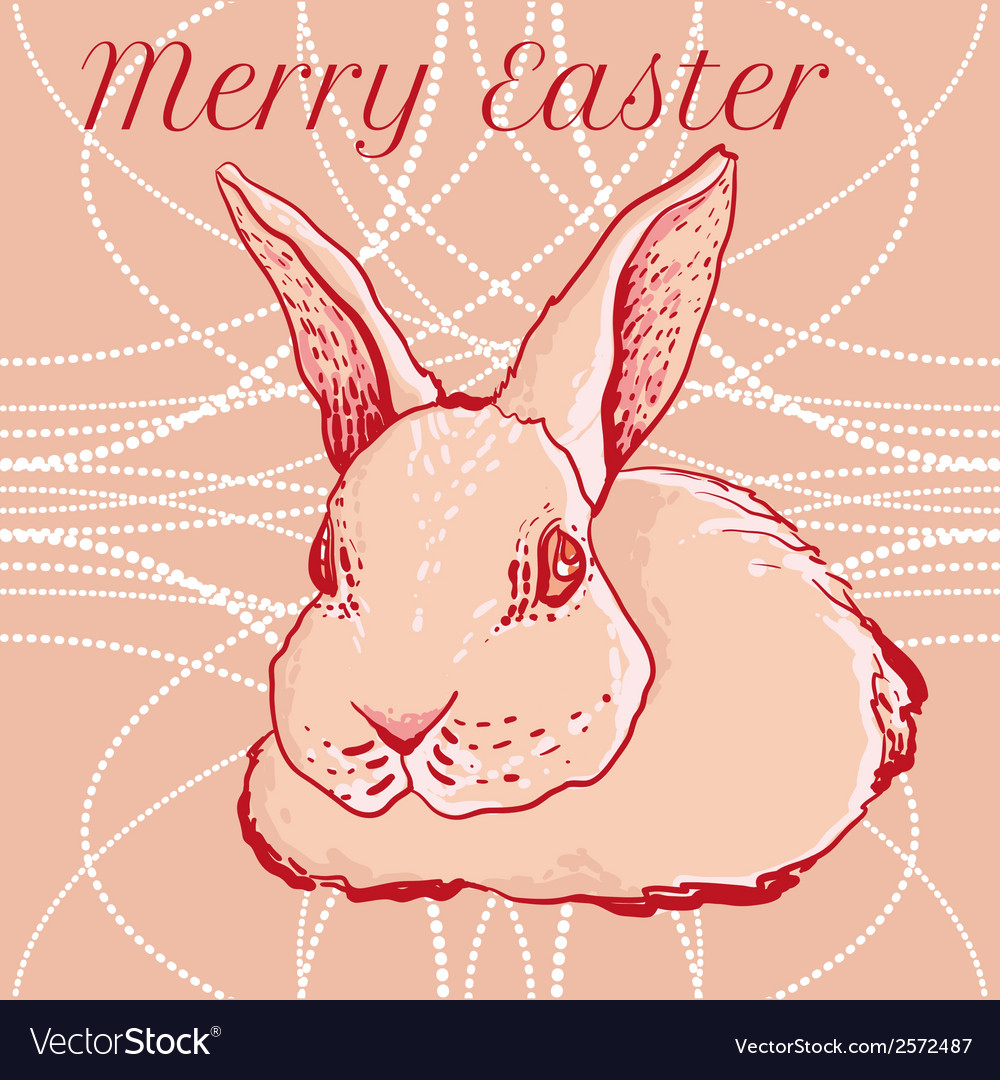 Doodle easter rabbit for greeting cards vector | Price: 1 Credit (USD $1)