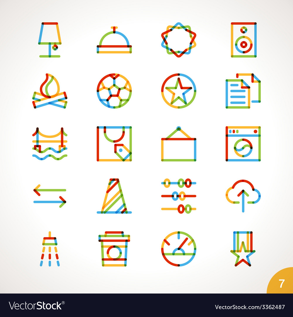 Highlighter line icons set 7 vector | Price: 1 Credit (USD $1)