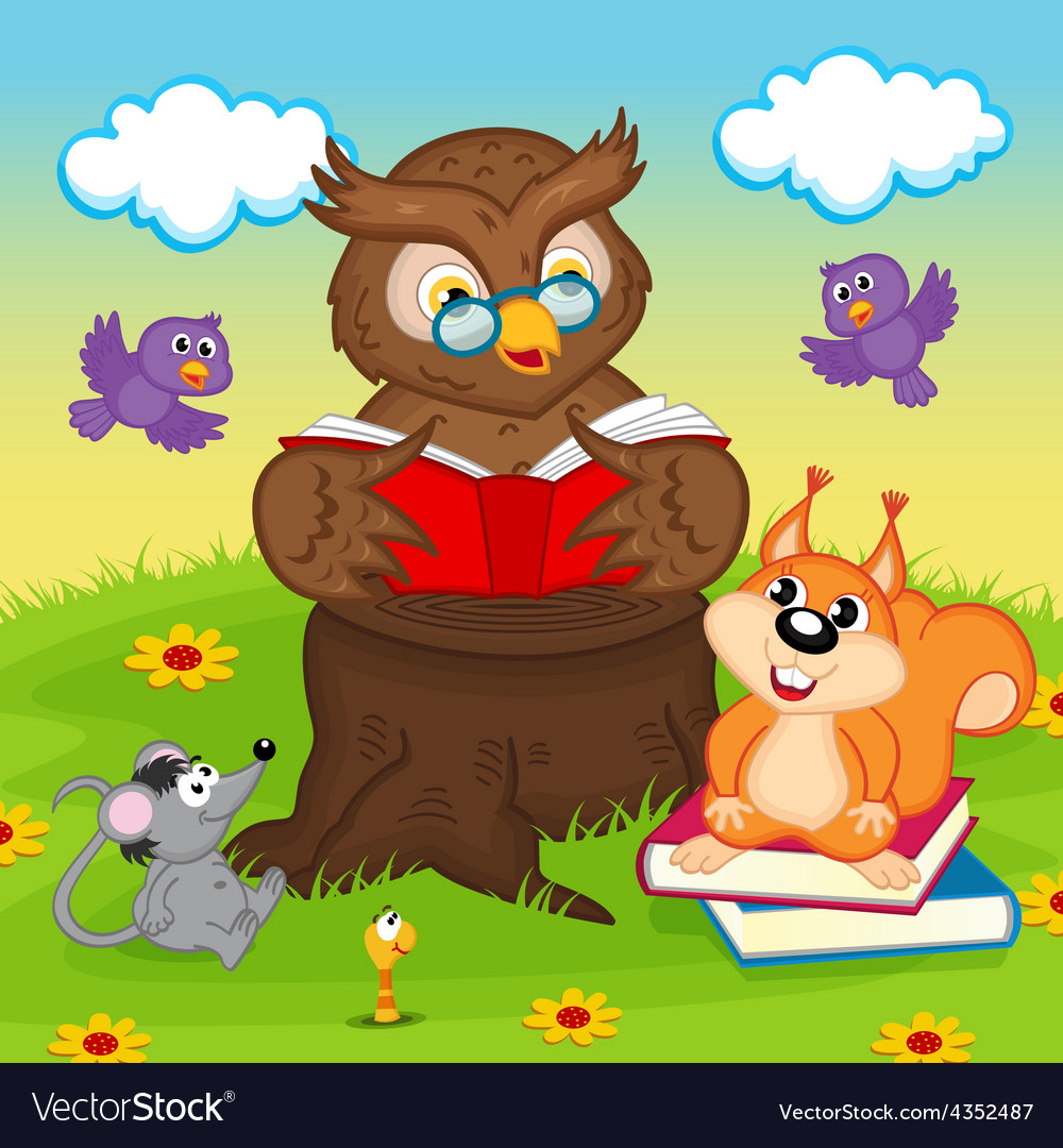 Owl reading book for animals vector | Price: 1 Credit (USD $1)