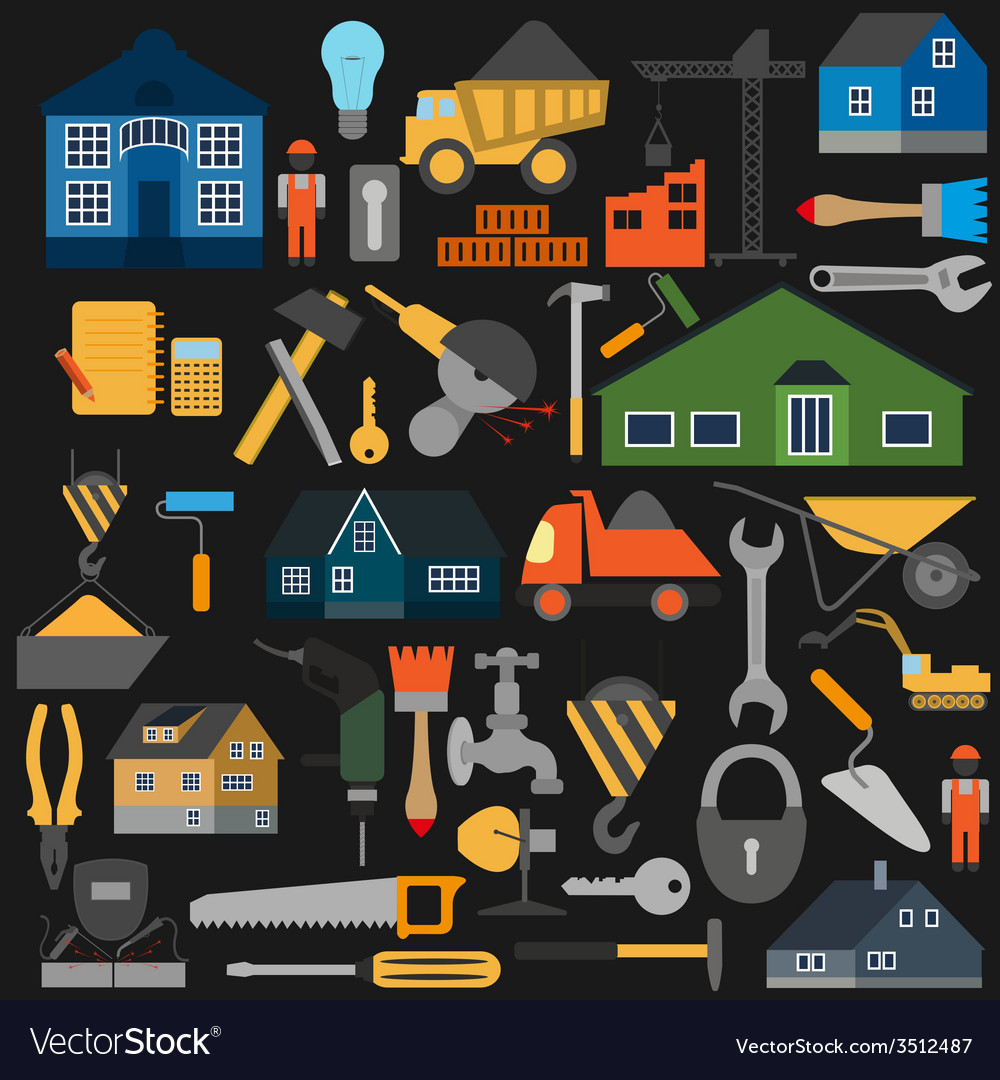 Set of house repair tools icons vector | Price: 1 Credit (USD $1)