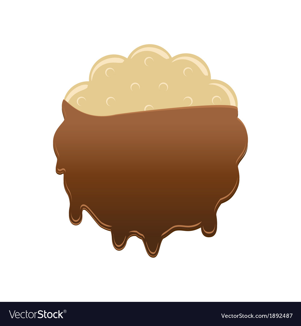 Sweet cookie in chocolate icing vector | Price: 1 Credit (USD $1)