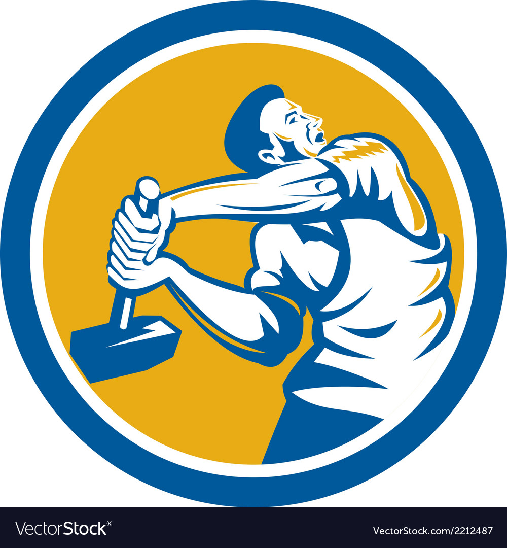 Union worker strike with sledgehammer retro vector | Price: 1 Credit (USD $1)