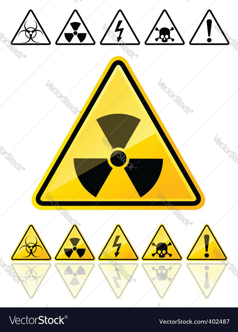 Warning symbols yellow signs vector | Price: 1 Credit (USD $1)
