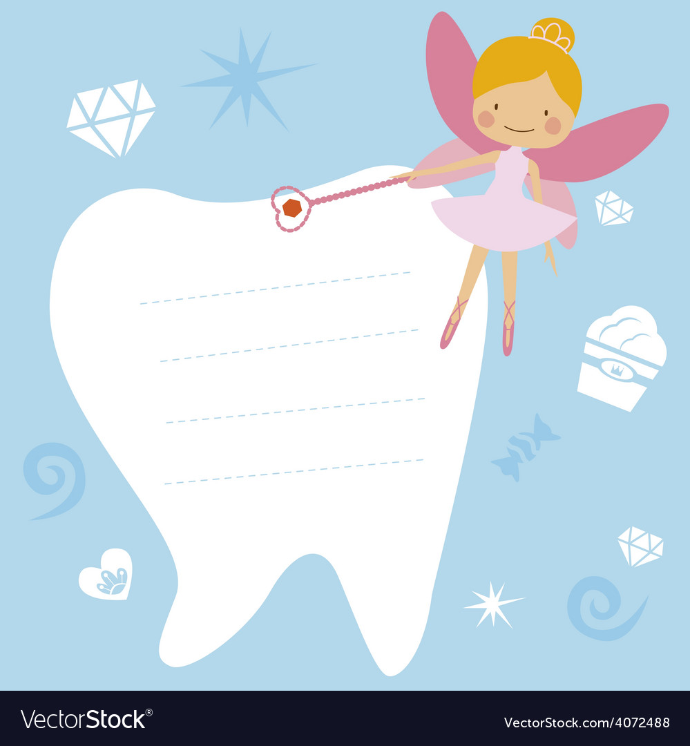 Card with the tooth fairy vector | Price: 1 Credit (USD $1)