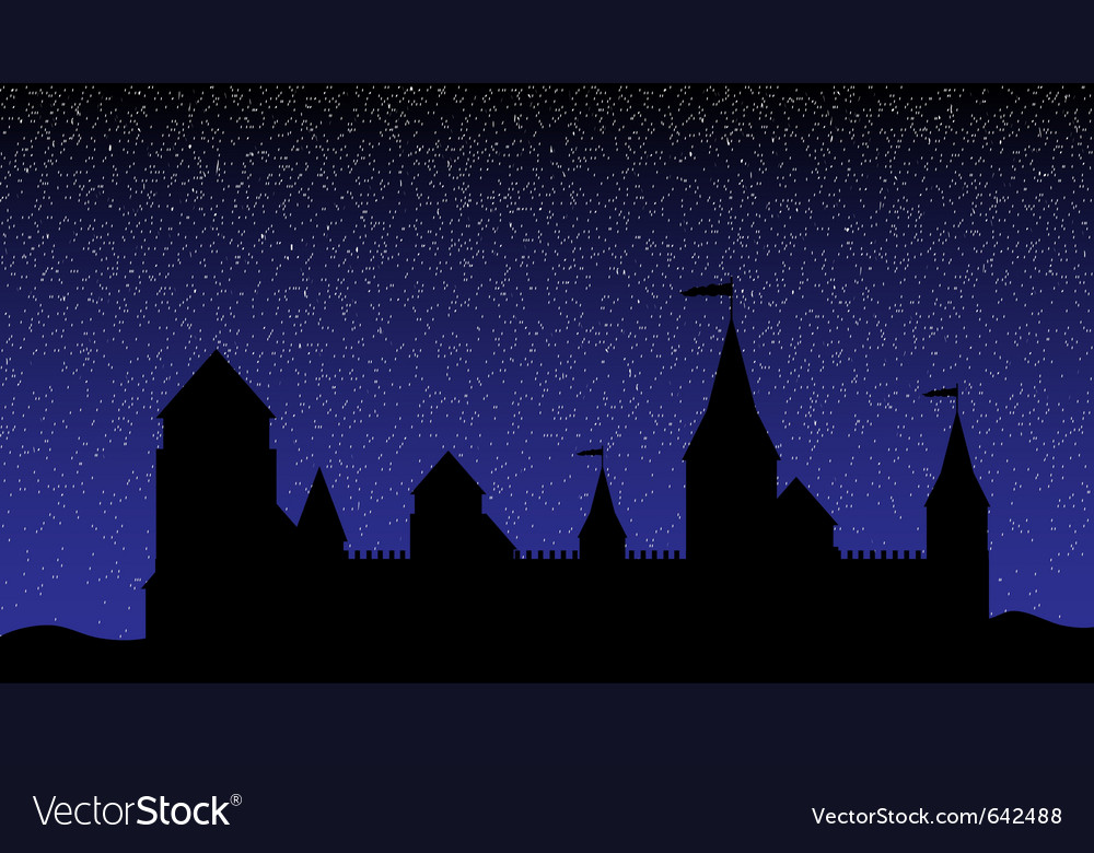 Castle at night vector | Price: 1 Credit (USD $1)