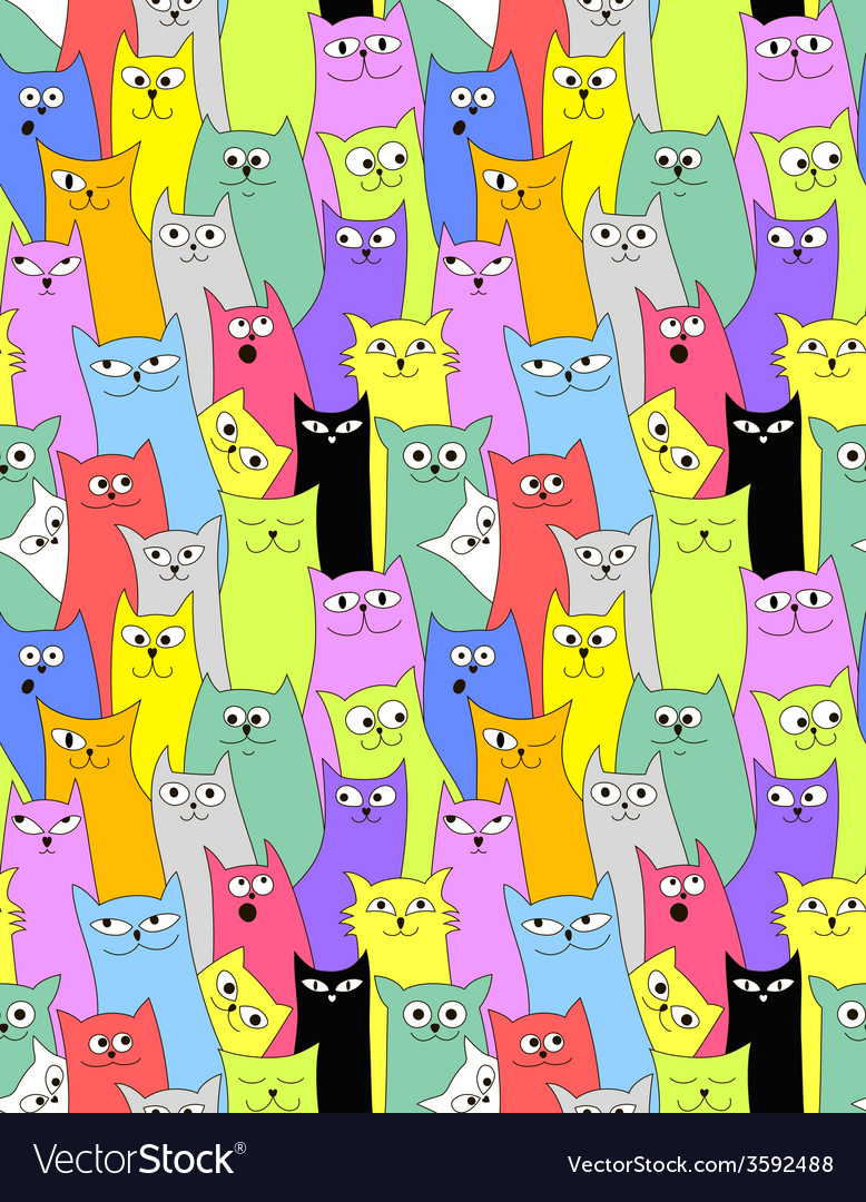 Cats seamless funny background vector