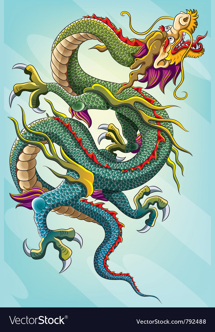 Chinese dragon painting vector | Price: 5 Credit (USD $5)