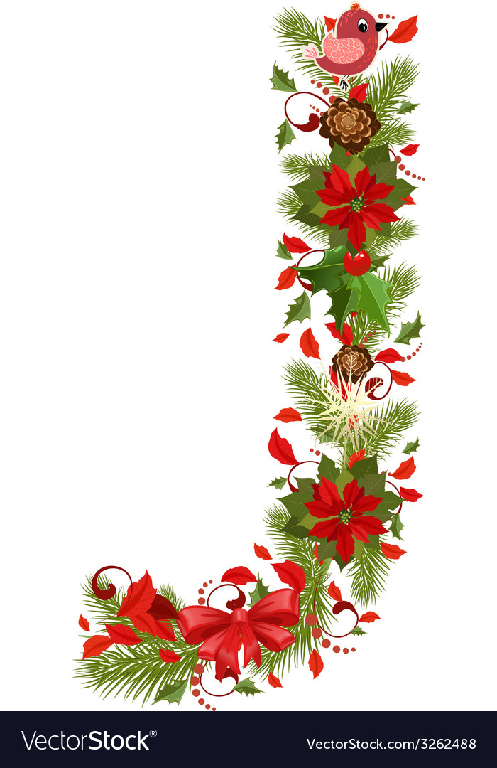 Christmas floral tree letter j vector | Price: 1 Credit (USD $1)