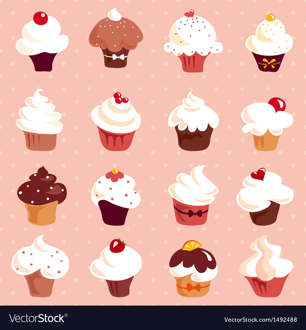 Cupcakes - seamless background vector | Price: 3 Credit (USD $3)