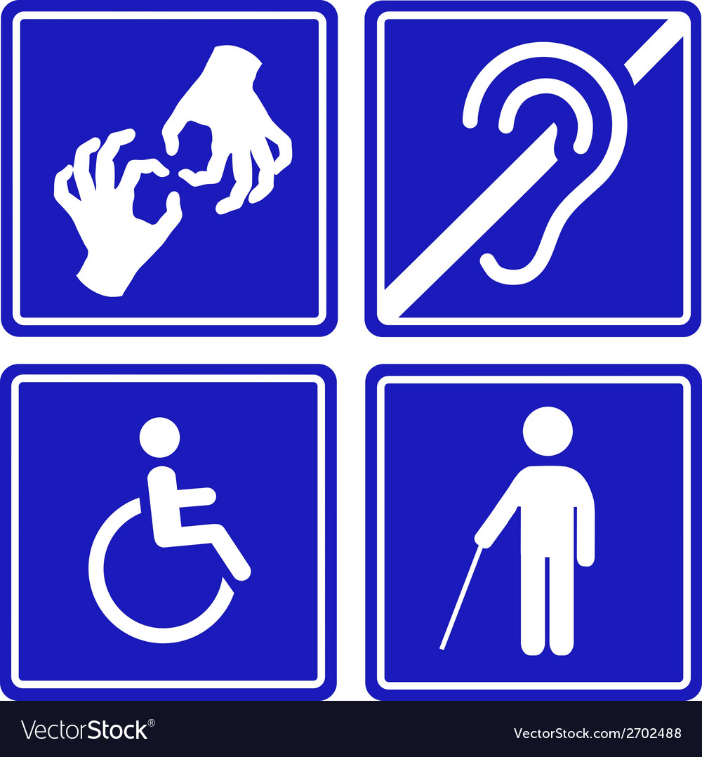 Disabled signs deaf blind mute and wheelchair vector | Price: 1 Credit (USD $1)