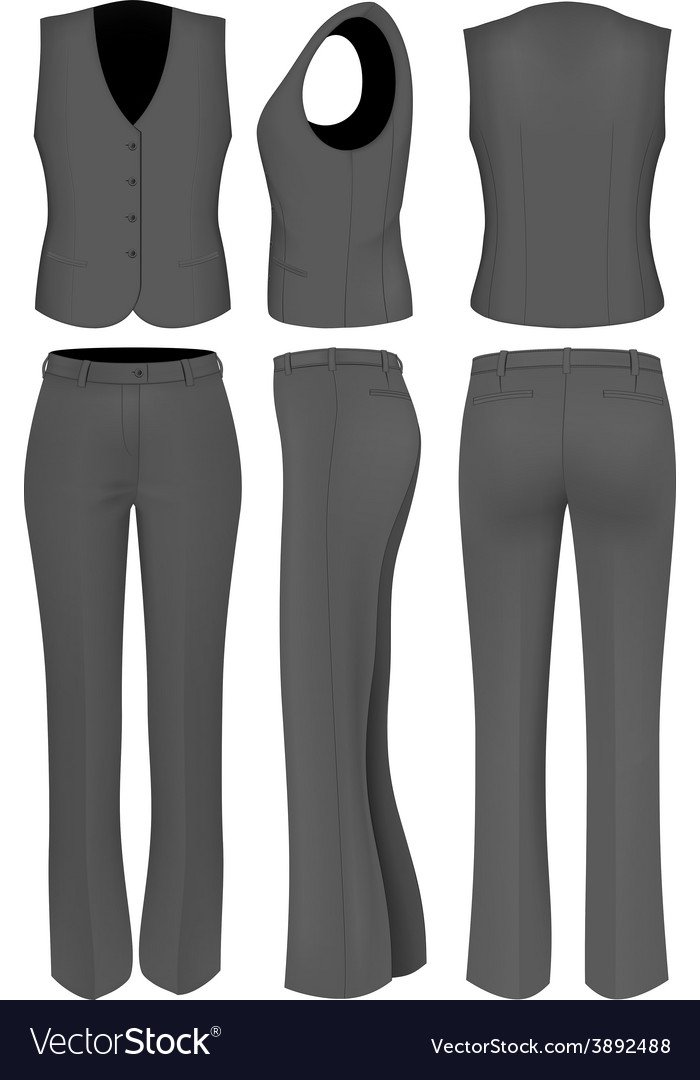 Formal black trousers suit for women vector | Price: 3 Credit (USD $3)
