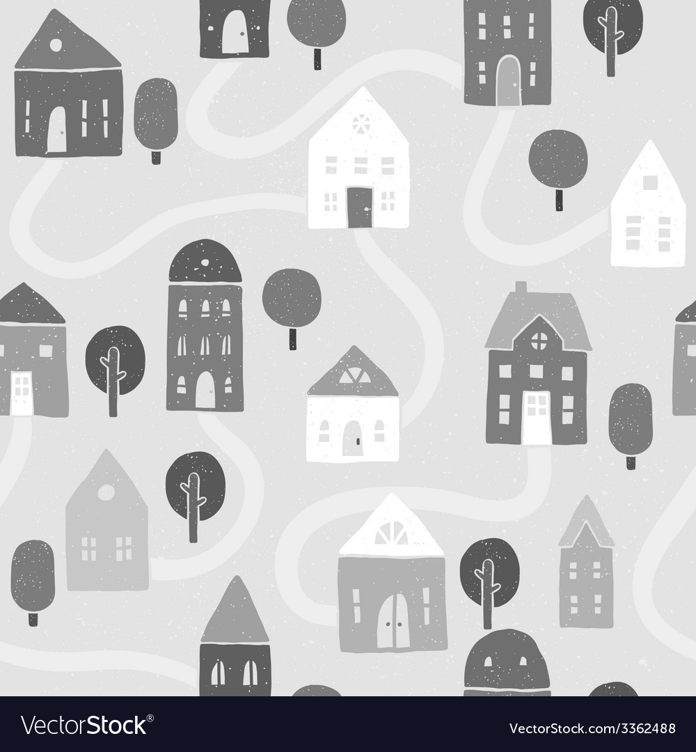 Grayscale houses pattern vector