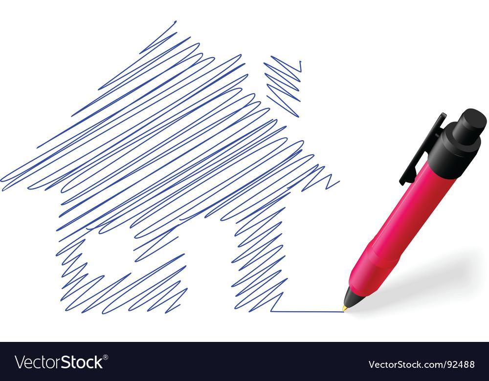 House sketch vector | Price: 1 Credit (USD $1)