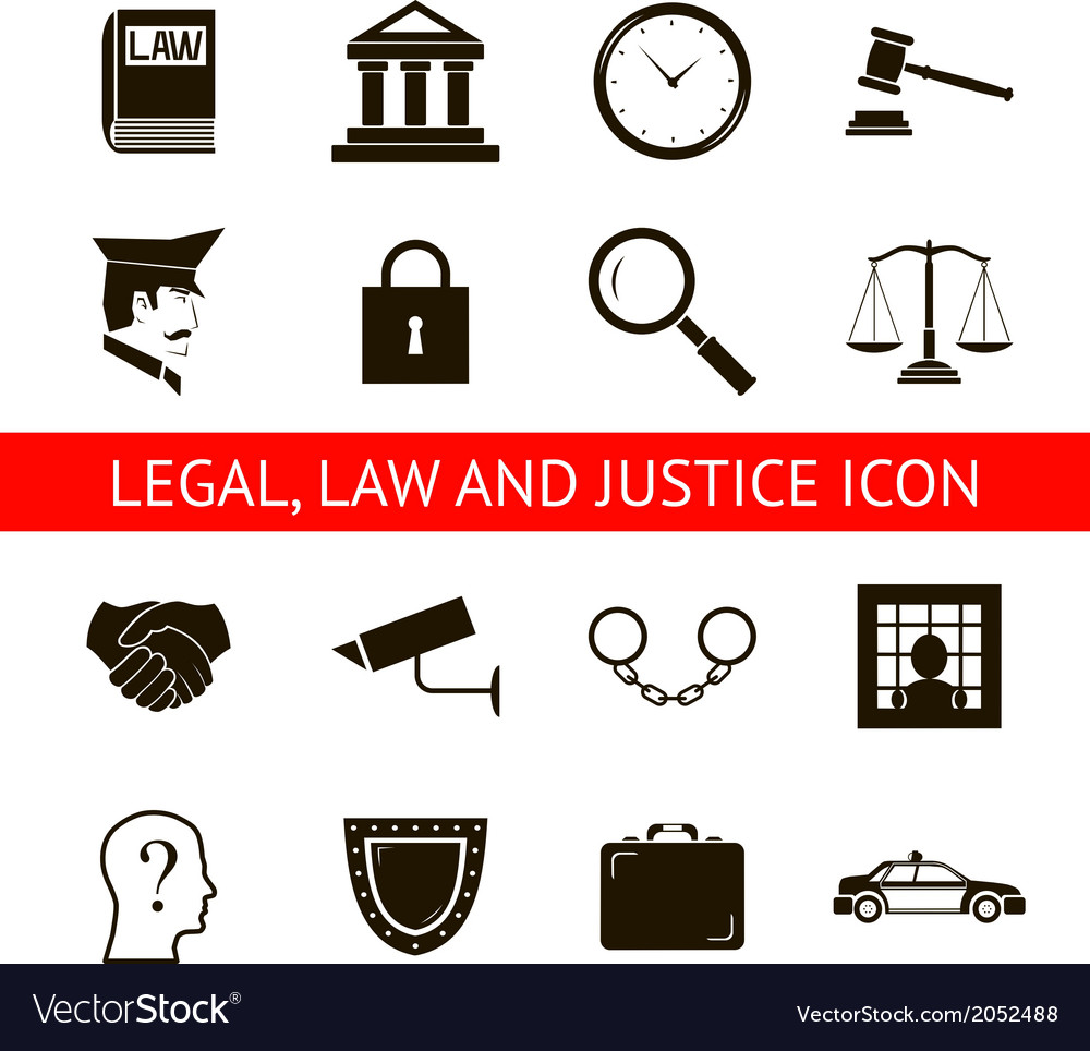 Law legal justice icons and symbols isolated vector | Price: 1 Credit (USD $1)