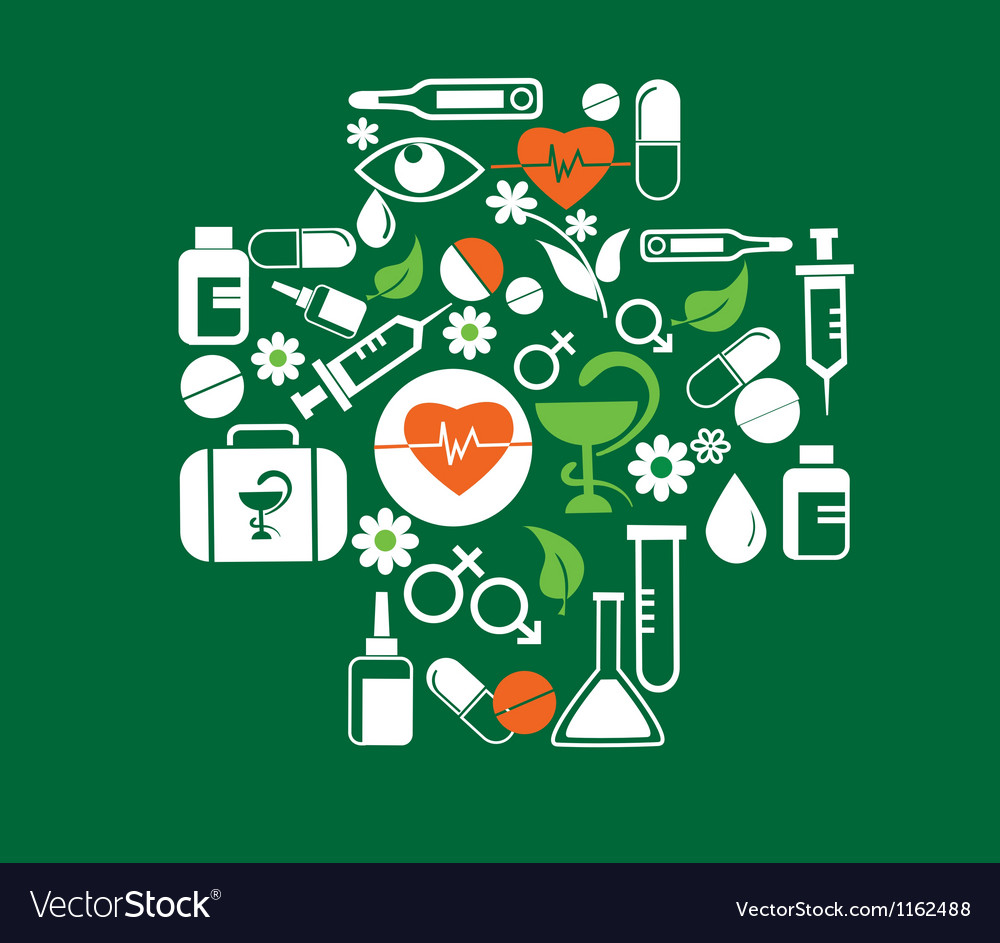 Medical cross with health icon set vector | Price: 1 Credit (USD $1)