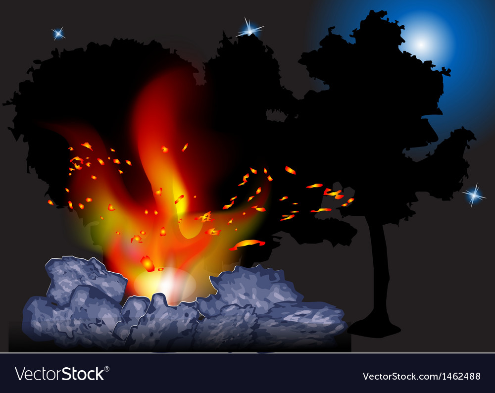 Night bonfire vector | Price: 1 Credit (USD $1)
