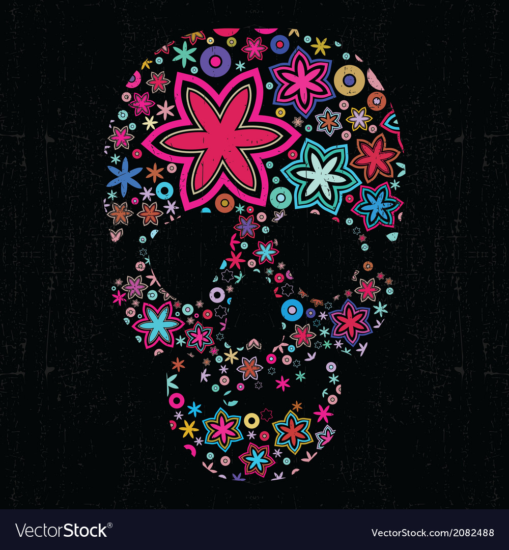 Skull with flowers vector | Price: 1 Credit (USD $1)