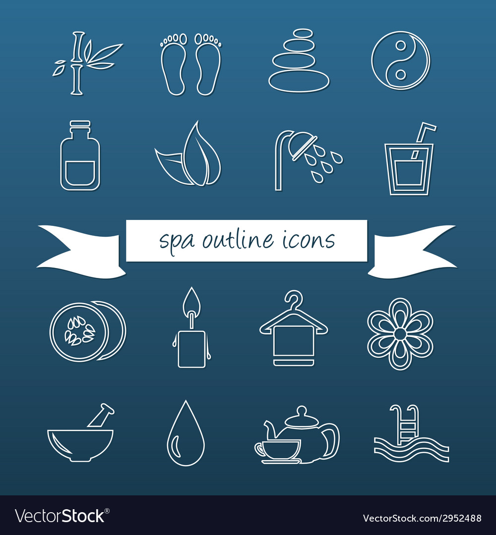 Spa outline icons vector