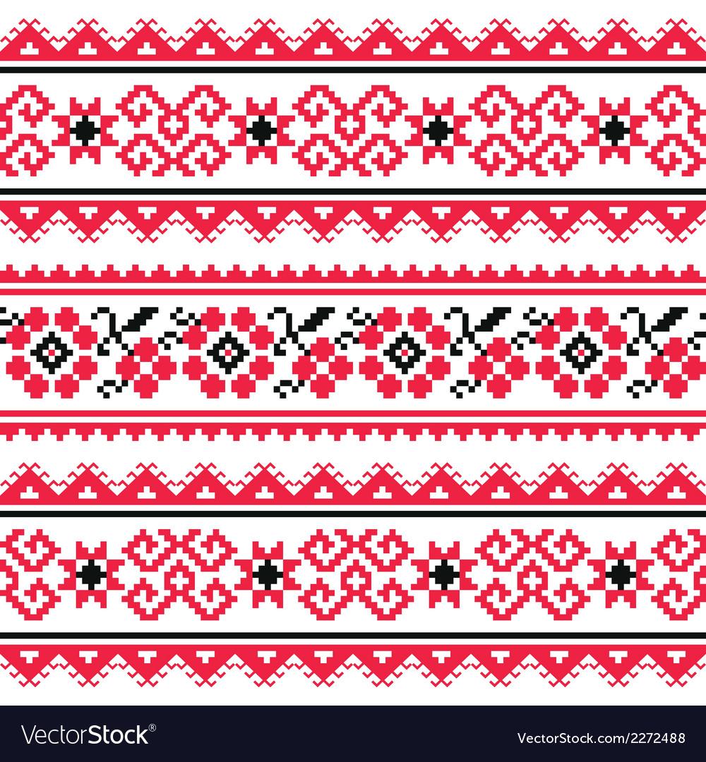 Ukrainian folk art embroidery pattern or print vector   Price: 1 Credit (USD $1)