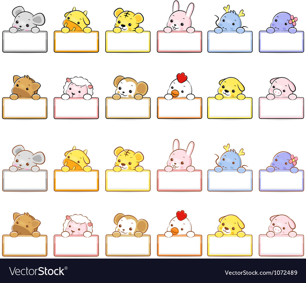 12 zodiac animal mascot the front stand up holding vector | Price: 3 Credit (USD $3)
