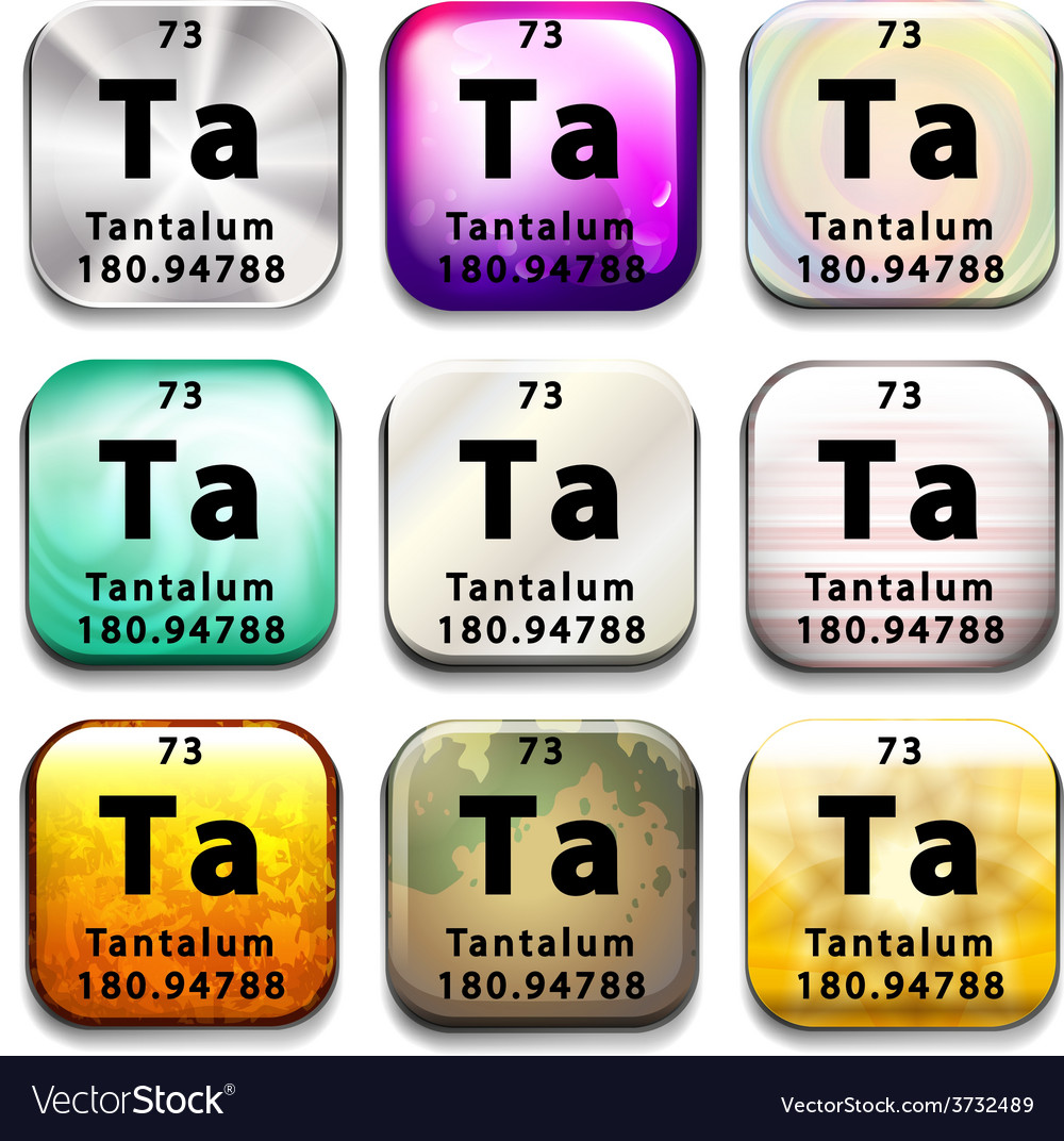 A button showing the element tantalum vector | Price: 1 Credit (USD $1)