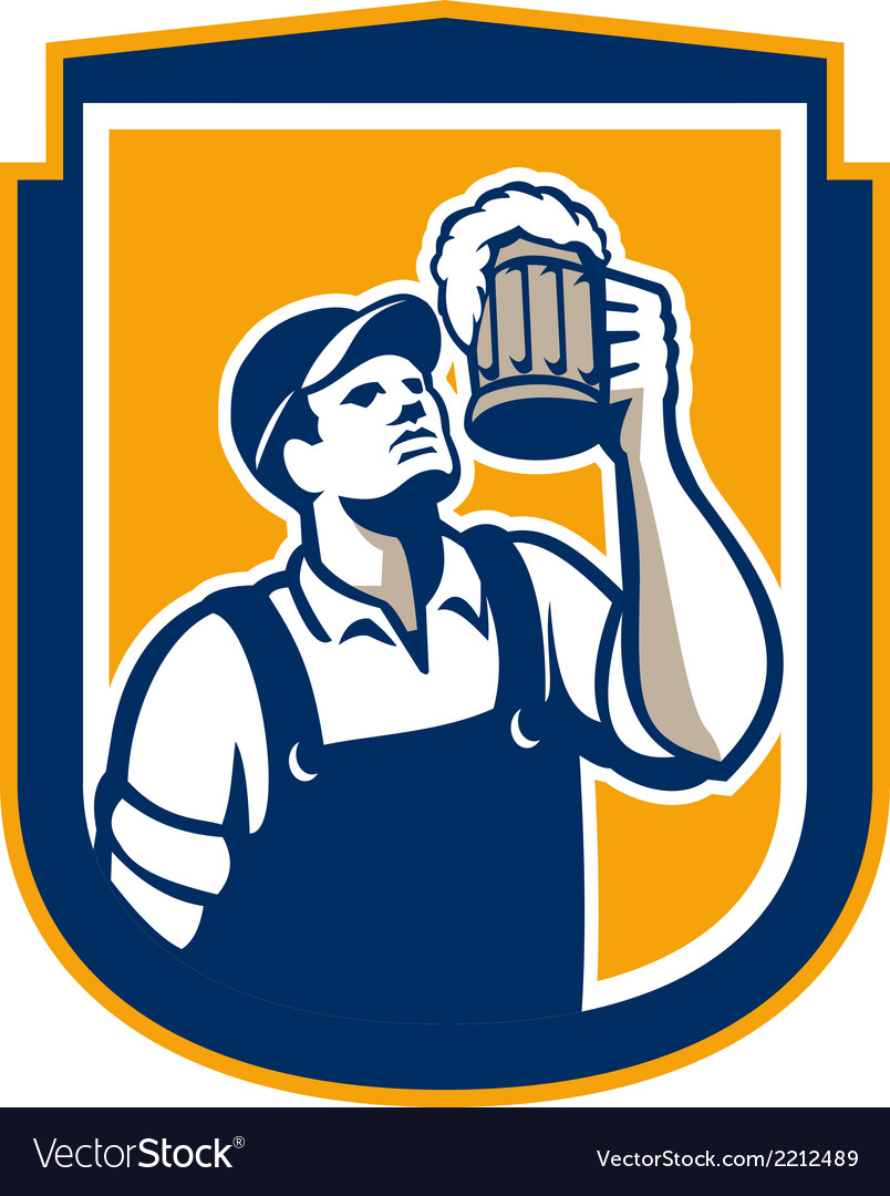 Bartender toast beer mug shield retro vector | Price: 1 Credit (USD $1)