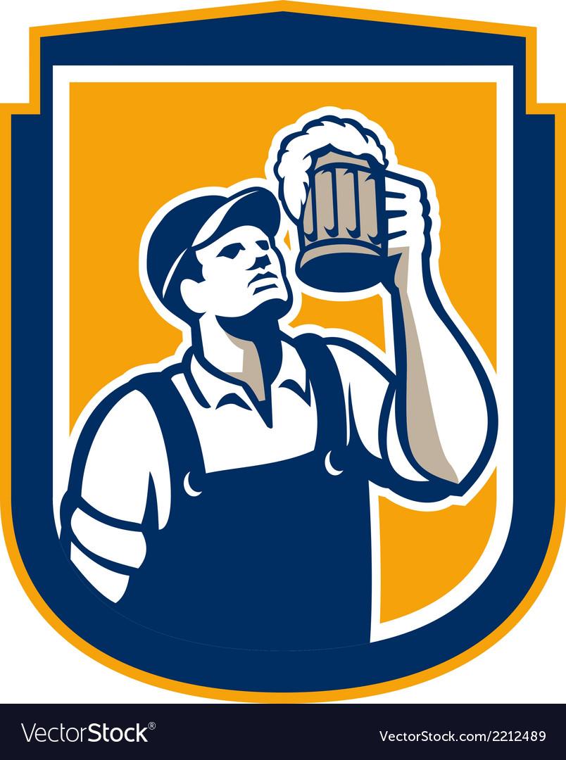 Bartender toast beer mug shield retro vector | Price: 1 Credit (USD $1)