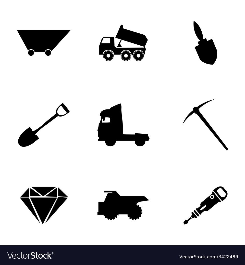 Black mining icons set vector | Price: 1 Credit (USD $1)