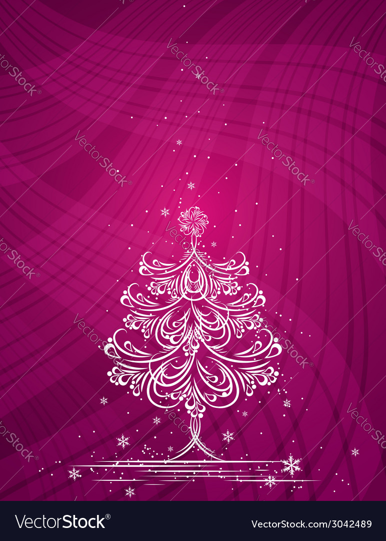 Christmas tree on the purple background vector | Price: 1 Credit (USD $1)