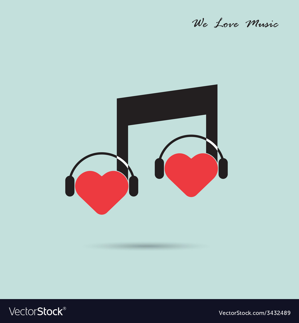 Creative music note sign icon and silhouette heart vector | Price: 1 Credit (USD $1)