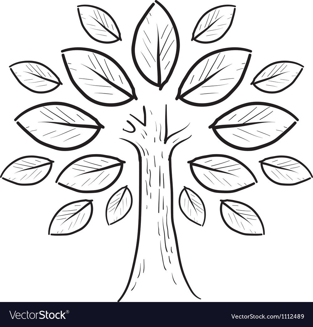 Doodle tree leaves abstract vector | Price: 1 Credit (USD $1)