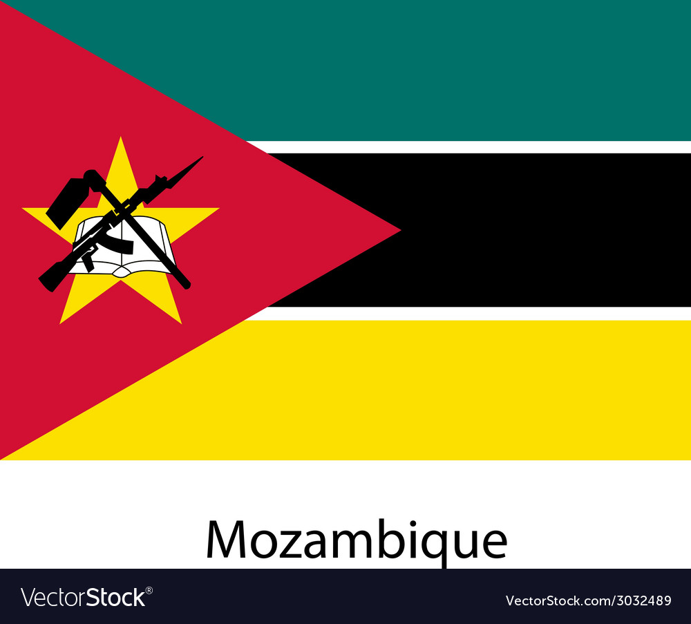 Flag of the country mozambique vector | Price: 1 Credit (USD $1)