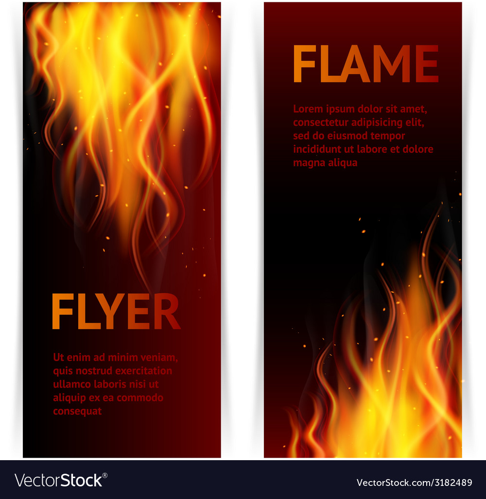 Flame banners set vector | Price: 1 Credit (USD $1)