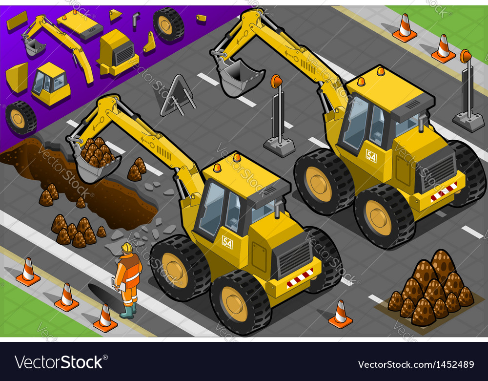 Isometric yellow excavator in rear view vector | Price: 1 Credit (USD $1)