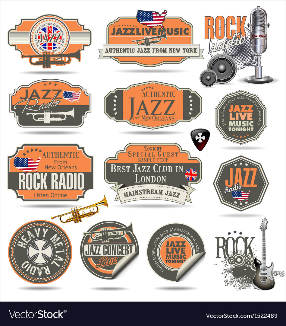 Jazz and rock music stamps and labels vector   Price: 3 Credit (USD $3)