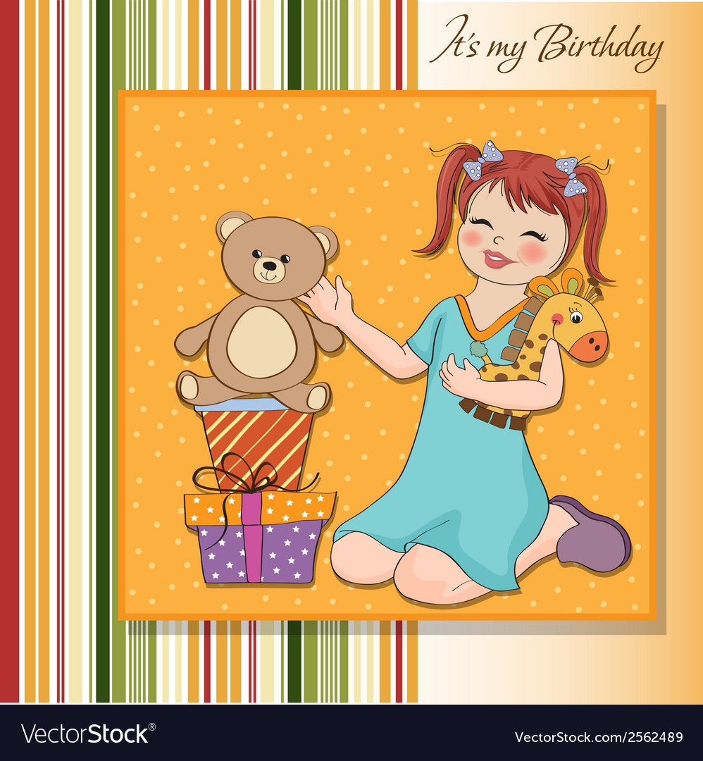 Little girl playing with her birthday gifts happy vector | Price: 1 Credit (USD $1)