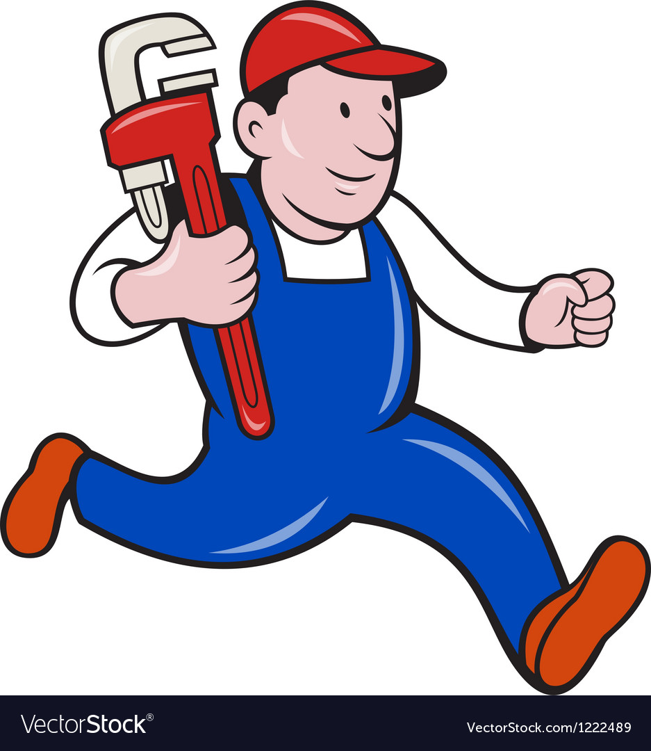 Plumber with monkey wrench cartoon vector | Price: 1 Credit (USD $1)