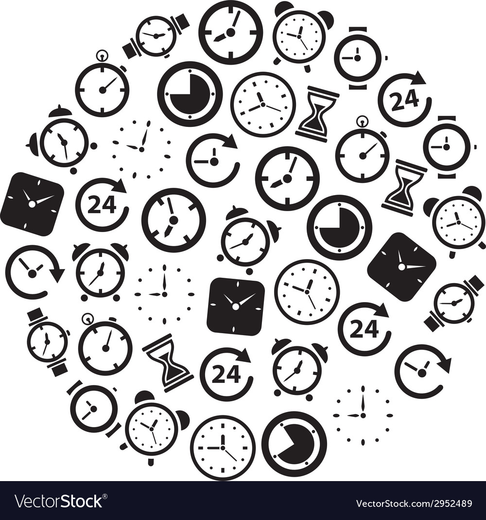 Time icons in circle vector | Price: 1 Credit (USD $1)