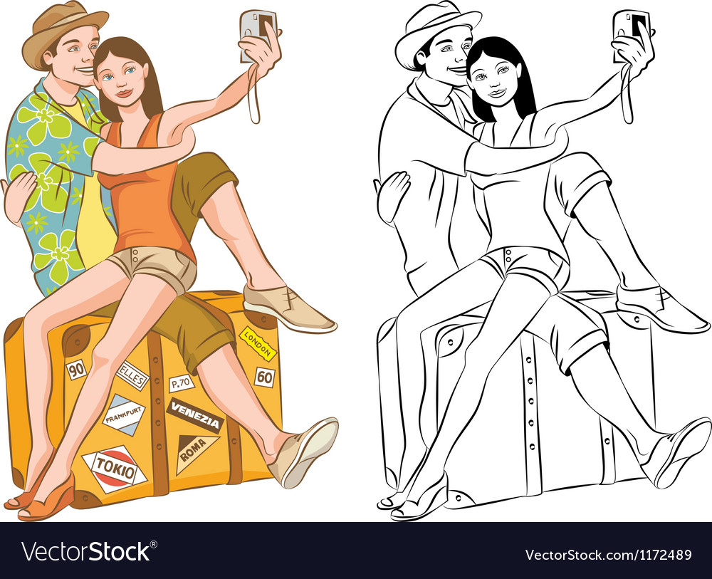 Tourist couple taking their self portrait vector | Price: 5 Credit (USD $5)