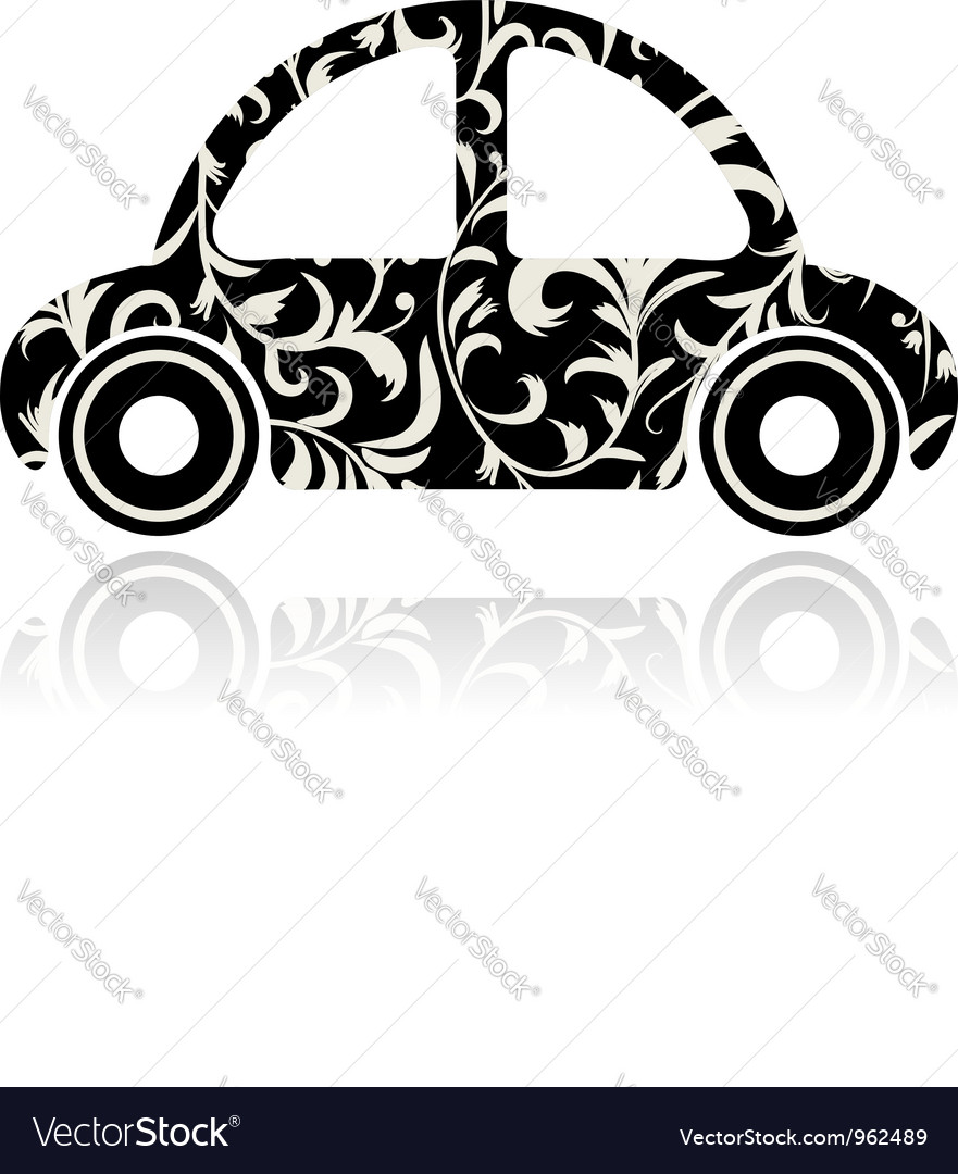 Vintage black car with floral ornament for your de vector | Price: 1 Credit (USD $1)