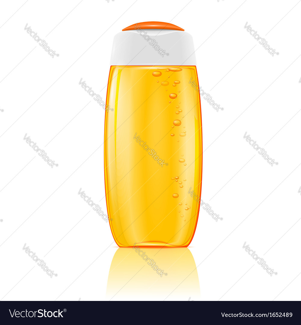 Yellow shampoo bottle with bubbles vector | Price: 1 Credit (USD $1)