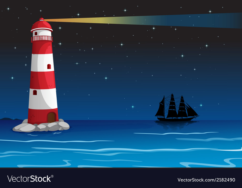 A lighthouse in the middle of the ocean vector | Price: 1 Credit (USD $1)