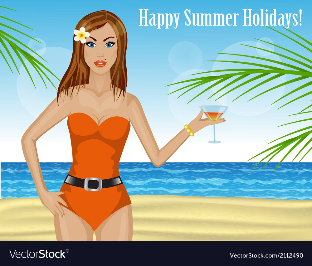 Beautiful woman drinking a cocktail on the beach vector   Price: 1 Credit (USD $1)