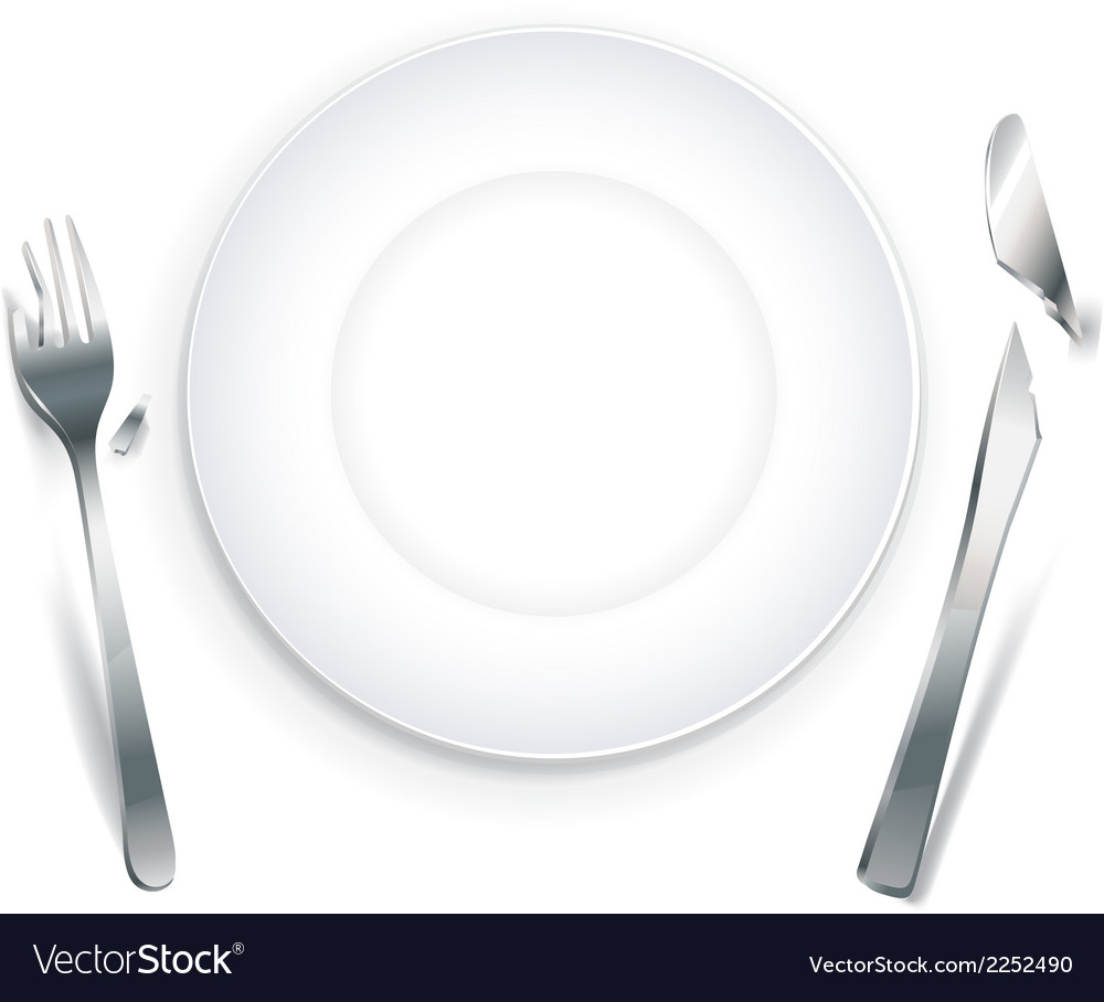 Empty plate with broken cutlery vector | Price: 1 Credit (USD $1)