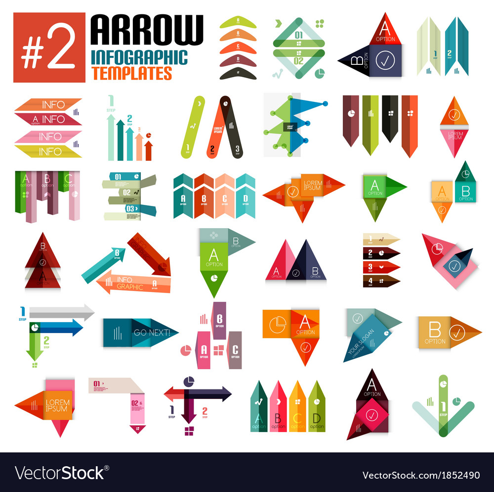 Huge set of arrow infographic templates 2 vector | Price: 1 Credit (USD $1)